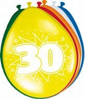 30 jaar, Ballonnen, 8 stuks, assorti