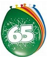 65 jaar, Ballonnen, 8 stuks, assorti