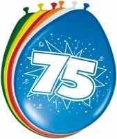 75 jaar, Ballonnen, 8 stuks, assorti