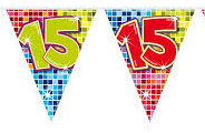 Vlaggenlijn 15 jaar Birthday Blocks