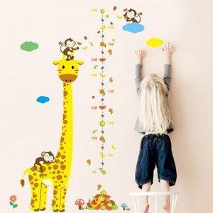 Groeimeter sticker giraffe en aapjes