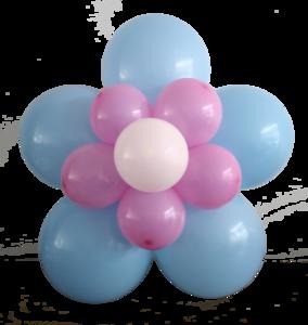 Bloem van ballonnen DIY babyblauw/roze