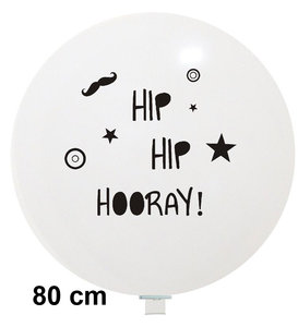 XL ballon Hip Hip Hooray wit met zwart