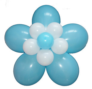 Ballonnen bloem geboorte blauw