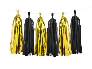 Tassel slinger goud-zwart, 2 meter
