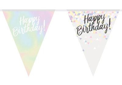 Happy birthday vlaggenlijn iriserend