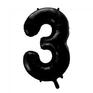 folieballon cijfer 3, zwart, 86 cm / 34 inch