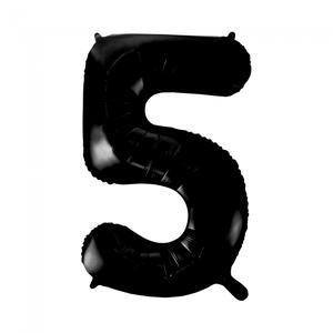folieballon cijfer 5, zwart, 86 cm / 34 inch